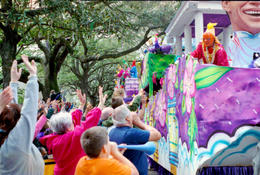 "Mardi Gras Parade on St Charles Ave - New Orleans; the crowd yells ""throw me something mister"" at the Krewe - May 2011"