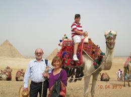 We and our son near the pyramids during a short holiday in Egypt., Milan A - April 2010