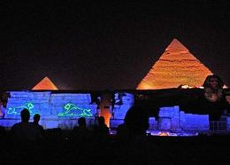 Laser show on the walls of the Mummification Temple - May 2008