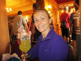 Kyles Aunt who is a Navy Seabee, celebrates her Birthday with a tasty Drink. , SHELBY G - May 2015