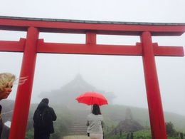 during the last part of the tour, we took a cable car to the top of the mountain. It was very cloudy and foggy, but it made visiting the Shinto shrine there that much more special. , 0504Traveller - September 2015