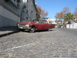 Old Cadillac parked on the cobblestone streets., Bandit - June 2012