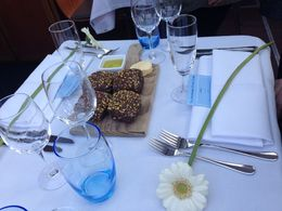 This is the table setting on our dinner cruise. , Rosemary G - May 2015