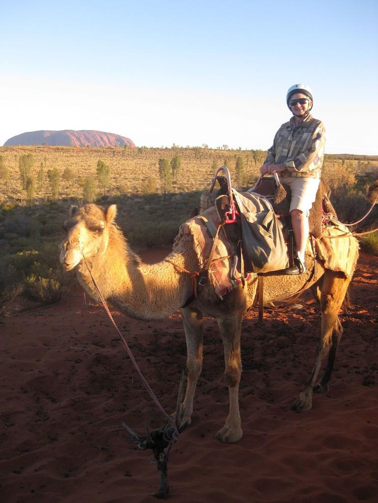 Nan on Camel with Uluru in background - Ayers Rock