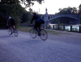 Riding bikes in the Englisher Garten at dusk, Munich - May 2011
