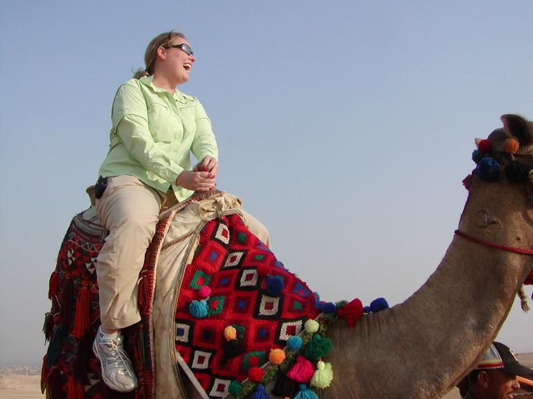 Riding the camels at the Giza Pyramids - Cairo