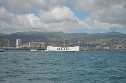 USS Arizona memorial looking towards Honolulu , Hamish R - September 2017