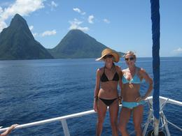 Us with the famous Pitons of St Lucia, Jennifer F - September 2010