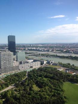 The view from the observation deck is worderful, in the terrace on the Donauturm. , Sandra F - May 2014