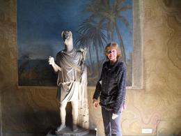Dori standing with an Egyptian statue at the Vatican Museum, Daniel C - April 2010