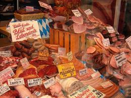 Meat for sale in the Viktualienmarkt. - March 2008