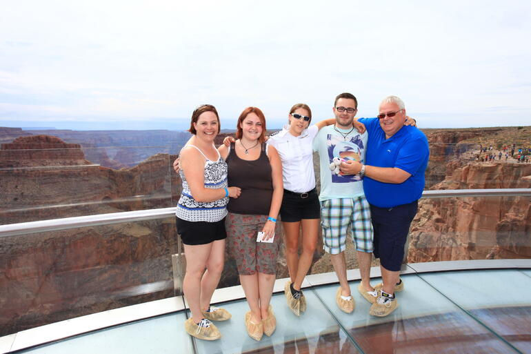 Photo on the Skywalk with our Pilot Cathy - Las Vegas