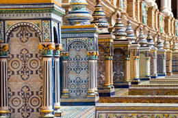Detail of the tiled benches at the Plaza de Espana in Seville, Spain - June 2011