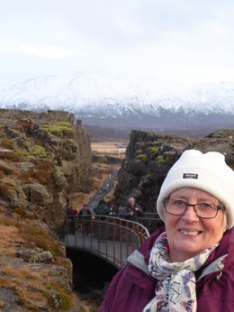 My wife with in front of the Thingvellir crack. , George H - February 2017