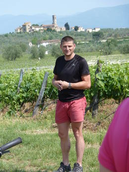 Our tour guide Joesph explanes Chianti Wine and the story of the Balck Rooster , Elizabeth T - June 2012