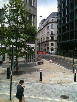 Cute London street from the top of the hop on off bus, Travel Mom - July 2011