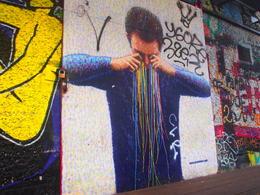 My favorite: a pointillism-inspired street art piece by Jimmy C., Rachel - November 2013