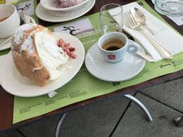 Scrumptious meringue dessert and small espresso. So light and yet so filling, with a raspberry surprise on the bottom! Shared with new friends. Thank you and may God bless you. My husband created..., Michael E - June 2016