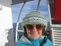 This is me on the back deck searching desperately for Orcas, fully equipped with noise reducing headphones and warm beanie. Was a great trip, I was the only one outside. No Orca's :( , Susan F - March 2014