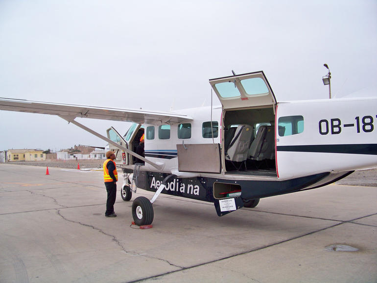 Boarding the sightseeing plane - Lima