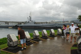 Memorials to all lost US submarines in World War 2 with USS Bowfin in background. , Margaret - May 2011