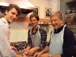 My two sons and husband making ravioli in Florence. , Linda J - December 2014