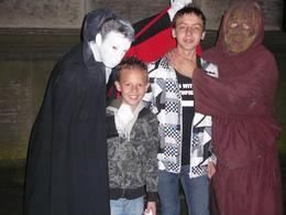 Adam Lyle (deceased) trying to persuade my kids to join in the fun on the Edinburgh Ghost walk , May 2008., Amanda P - June 2008