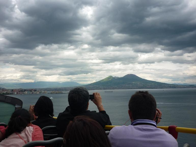 Naples view of Vesuvius from open-top bus - Naples