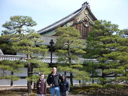 Us standing in front of some Pine trees at Nijo Castle. The first stop on our Full day tour. , Spinmeout - April 2014