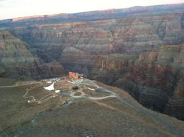 View of the Grand Canyon Skywalk from the airplane. Pretty cool!, taylor - December 2011