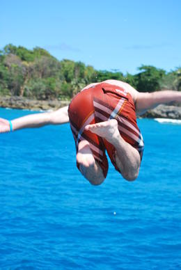 Fun time : jumping off the catamaran , Jeremy R - May 2011