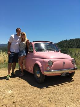 Brittany and Jordan Schrader in the hills of Tuscany in a PINK fiat 500 , Jordan S - July 2017