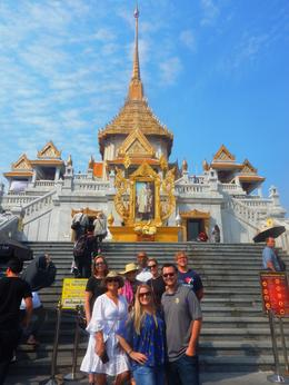 Our Group on the stairs to the Temple of the Golden Buddha. , Jane N - January 2018