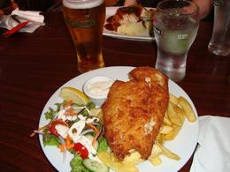 Fish and chips at the pub. A beer too!, Chase R - October 2010