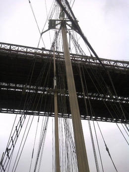 The ship's mast just about clears the bridge structure, Timetable Tim - May 2012