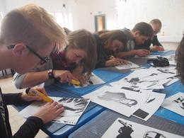 Everyone cutting out their stencils, Rachel - November 2013