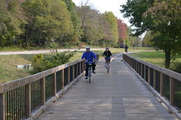 My husband and I biking over one of the many little bridges on the way to Mt Vernon , Nicki52 - November 2013