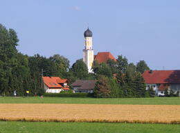 A Bavarian village viewed from the train to Fussen , Kevin F - August 2013