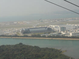 Aircraft taking off at the HK International Airport, from the cabel car , Shanu V - October 2012