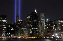 Tribute Lights from Ground Zero - May 2011