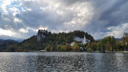 The castle view from the pletna boat ride , Charina A - October 2017