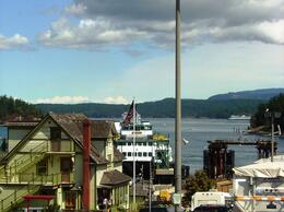 View from Friday Harbor of some Victorian-style buildings and the beautiful bay , Leah - May 2011