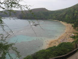 Panoramic view of the beach and the mountains at Hanauma Bay., Bandit - February 2011