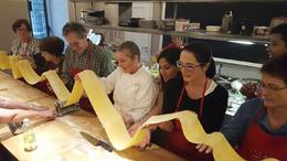 Wow and here is the longest pasta sheet in the world. Victoria our Chef., The venue for the Pasta Course , Darlene S - May 2017
