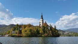 The church from the pletna boat ride , Charina A - October 2017