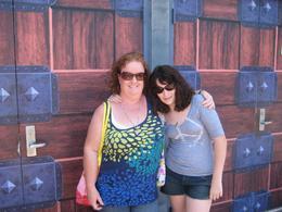 outside shrek ride in sun, Clare B - July 2010