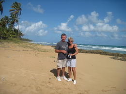 Bob and Pattie Taylor taking a break from the Dune Buggy at the beach area. Lava Rock along the shore line so no swimming. , Harold T - February 2014