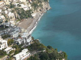 view from the Amalfi coastline of the town we had lunch on the beach , pamela j - March 2012