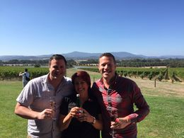 Enjoying the bubbles at Chadon with our tour guide, T , Bret T - March 2015