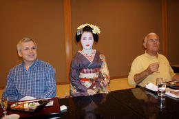 The gentlemen in our group were very happy that our maiko served their sake! , Nita - April 2014